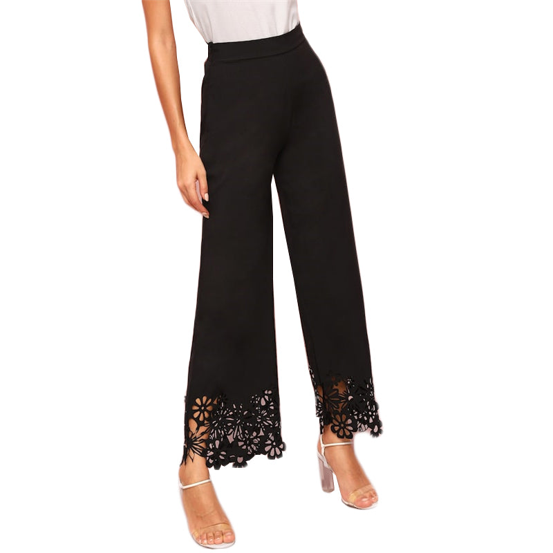 Lace Trip Wide Leg Pants