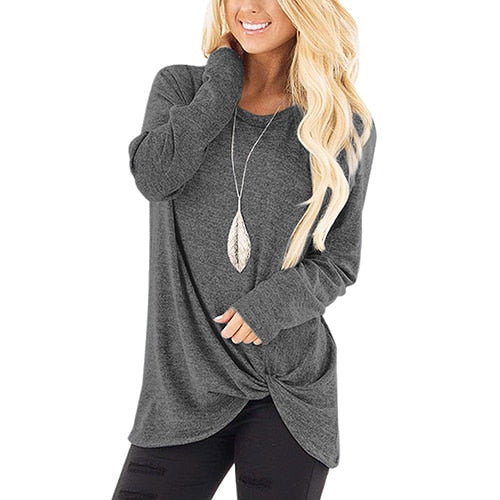 Knotted Long Sleeve Casual Tee