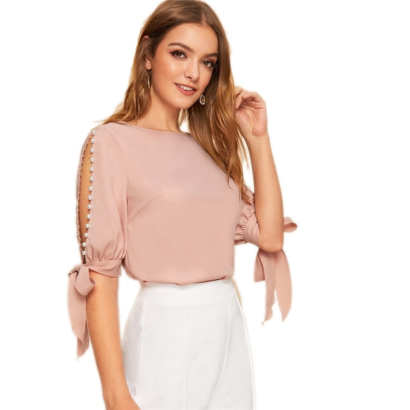 Side Slit Blouse with Pearl Detail