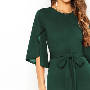 Green Belted Tie Pencil Dress