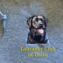 Custom Embroidered Labrador Retriever with Club or Kennel name on full-zip hooded sweatshirt from Rascals Sporting Dogs
