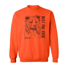 Adult Crewneck Sweatshirt from Rascals Sporting Dogs featuring black-ink illustration of Border Collie with 'Best Pal Ever'