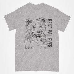 Classic Adult T-shirt from Rascals Sporting Dogs featuring black-ink illustration of Border Collie with Best Pal Ever.