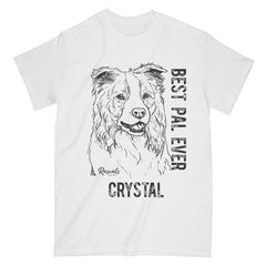 Personalized Classic Adult T-shirt from Rascals Sporting Dogs featuring black-ink illustration of Border Collie with Best Pal Ever.