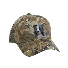 Camouflage mid profile baseball cap in 100% cotton twill featuring detailed embroidered Border Collie by Rascals Sporting Dogs