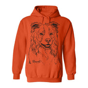 Comfy Adult Hoodie from Rascals Sporting Dogs featuring large black-ink illustration of Border Collie.