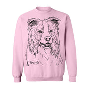 Adult Crewneck Sweatshirt from Rascals Sporting Dogs featuring large black-ink illustration of Border Collie.