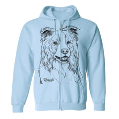 Adult Full Zip Hooded Sweatshirt from Rascals Sporting Dogs featuring large black-ink illustration of Border Collie.