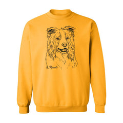 Adult Crewneck Sweatshirt from Rascals Sporting Dogs featuring black-ink illustration of Border Collie.