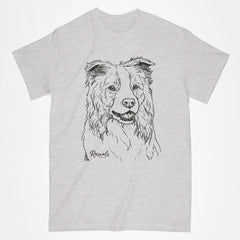 Classic Adult T-shirt with dog's name from Rascals Sporting Dogs featuring black-ink illustration of Border Collie