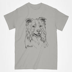 Border Collie illustration on classic Adult T-shirt from Rascals Sporting Dogs
