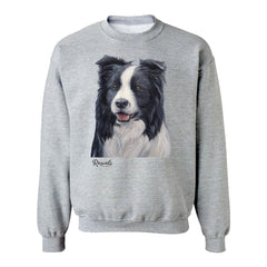 Border Collie painting on Adult Crewneck sweatshirt by Rascals Sporting Dogs