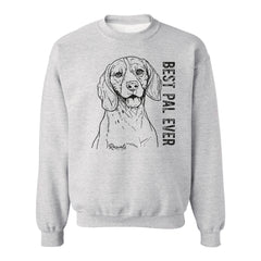 Adult Crewneck Sweatshirt from Rascals Sporting Dogs featuring black-ink illustration of Beagle with 'Best Pal Ever'.