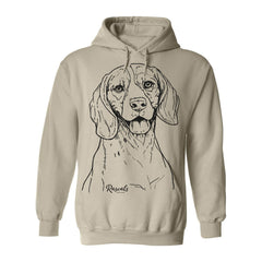 Comfy Adult Hoodie from Rascals Sporting Dogs featuring large black-ink illustration of Beagle