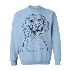 Adult Crewneck Sweatshirt from Rascals Sporting Dogs featuring large black-ink illustration of Beagle