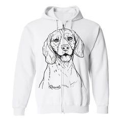 Adult Full Zip Hooded Sweatshirt from Rascals Sporting Dogs featuring large black-ink illustration of Beagle.