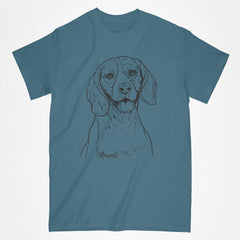 Adult T-shirt with dog's name from Rascals Sporting Dogs featuring black-ink illustration of Beagle