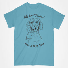 Classic Adult T-shirt from Rascals Sporting Dogs featuring black-ink illustration of Beagle with My Best Friend Has a Wet Nose.