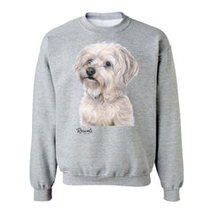 Bichon Frise painting on Adult Crewneck sweatshirt by Rascals Sporting Dogs