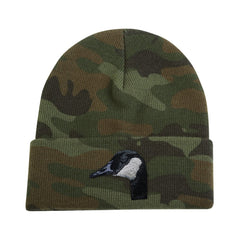 Canada Goose embroidered on camouflage knit cap by Rascals Sporting Dogs
