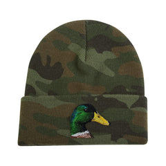Mallard Duck embroidered on camouflage knit cap by Rascals Sporting dogs