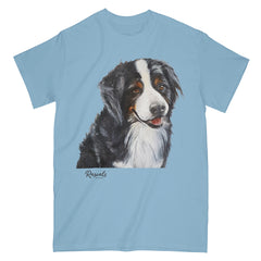 Bernese Mountain Dog painting on Adult Classic T-shirt by Rascals Sporting Dogs