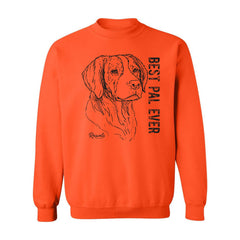 Adult Crewneck Sweatshirt from Rascals Sporting Dogs featuring black-ink illustration of Brittany with 'Best Pal Ever'.