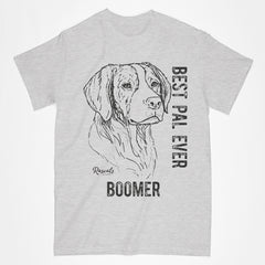 Add your dog's name to personalize a Classic Adult T-shirt from Rascals Sporting Dogs featuring black-ink illustration of Brittany with Best Pal Eve