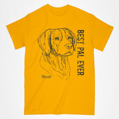 Classic Adult T-shirt from Rascals Sporting Dogs featuring black-ink illustration of Brittany with Best Pal Eve