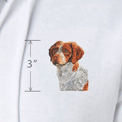 Adult Full-Zip Hooded Sweatshirt from Rascals Sporting Dogs featuring embroidered Brittany.