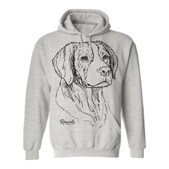 Comfy Adult Hoodie from Rascals Sporting Dogs featuring large black-ink illustration of Brittany