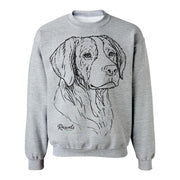 Adult Crewneck Sweatshirt from Rascals Sporting Dogs featuring large black-ink illustration of Brittany.