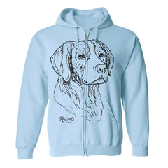 Adult Full Zip Hooded Sweatshirt from Rascals Sporting Dogs featuring large black-ink illustration of Brittany.