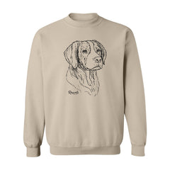 Adult Crewneck Sweatshirt from Rascals Sporting Dogs featuring black-ink illustration of Brittany.