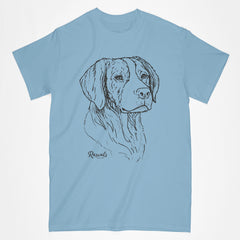 Brittany illustration on classic Adult T-shirt from Rascals Sporting Dogs