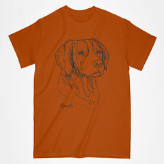 Classic Adult T-shirt from Rascals Sporting Dogs featuring black-ink illustration of Brittany