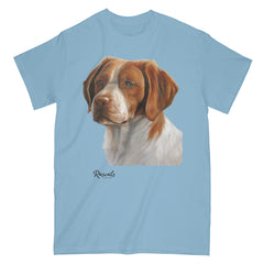 Brittany Spaniel painting on Adult Classic T-shirt by Rascals Sporting Dogs