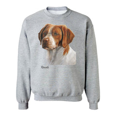 Brittany Spaniel painting on Adult Crewneck Sweatshirt by Rascals Sporting Dogs