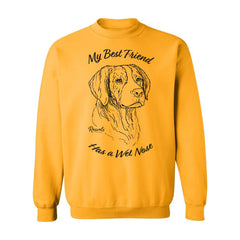 Adult Crewneck Sweatshirt from Rascals Sporting Dogs featuring black-ink illustration of Brittany Spaniel with 'My Best Friend Has a Wet Nose'.