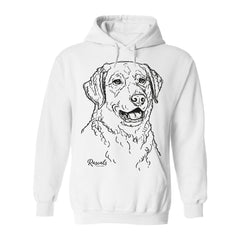 Comfy Adult Hoodie from Rascals Sporting Dogs featuring large black-ink illustration of Chesapeake Bay.