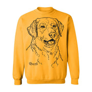 Adult Crewneck Sweatshirt from Rascals Sporting Dogs featuring large black-ink illustration of Chesapeake Bay
