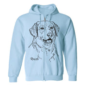 Adult Full Zip Hooded Sweatshirt from Rascals Sporting Dogs featuring large black-ink illustration of Chesapeake Bay