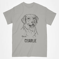 Personalized Classic Adult T-shirt from Rascals Sporting Dogs featuring black-ink illustration of Chesapeake Bay.