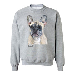 Painting of a French Bulldog on an Adult Crewneck sweatshirt by Rascals Sporting Dogs