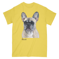 French Bulldog painting on Adult Classic T-shirt by Rascals Sporting Dogs