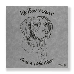 """My Best Friend Has A Wet Nose"" - Brittany Spaniel illustration laser-engraved onto high quality textured leatherette and stitched onto a box frame. This ready-to-hang, richly textured wall art is sure to impress - now available from Rascals Sporting Dogs."