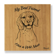 """My Best Friend Has A Wet Nose"" - Beagle illustration laser-engraved onto high quality textured leatherette and stitched onto a box frame. This ready-to-hang, richly textured wall art is sure to impress - now available from Rascals Sporting Dogs."