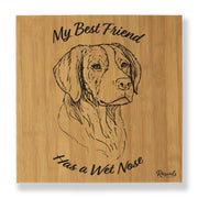 """My Best Friend Has A Wet Nose"" - Brittany Spaniel illustration laser-engraved onto high quality bamboo textured leatherette and stitched onto a box frame. This ready-to-hang, richly textured wall art is sure to impress - now available from Rascals Sporting Dogs."