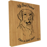 """My Best Friend Has A Wet Nose"" - Chesapeake Bay Retriever illustration laser-engraved onto high quality bamboo textured leatherette and stitched onto a box frame. This ready-to-hang, richly textured wall art is sure to impress - now available from Rascals Sporting Dogs."