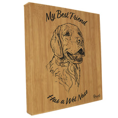 """My Best Friend Has A Wet Nose"" Wall art. Golden Retriever illustration laser-engraved onto high quality bamboo textured leatherette and stitched onto a box frame. This ready-to-hang, richly textured wall art is sure to impress - now available from Rascals Sporting Dogs."